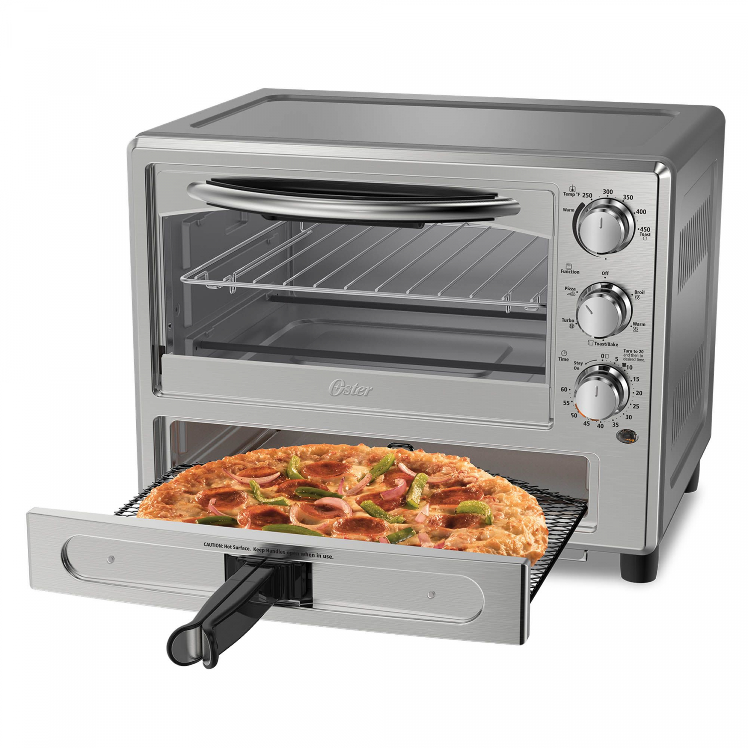 Convection Toaster Oven with Stainless Steel Finish Family-Size Pizza Cook