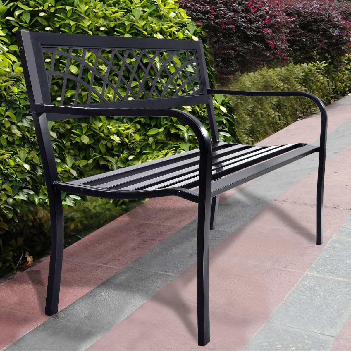 Details about Backrest Outdoor Park Bench Steel Frame Sturdy Durable Home  Garden Patio Chair