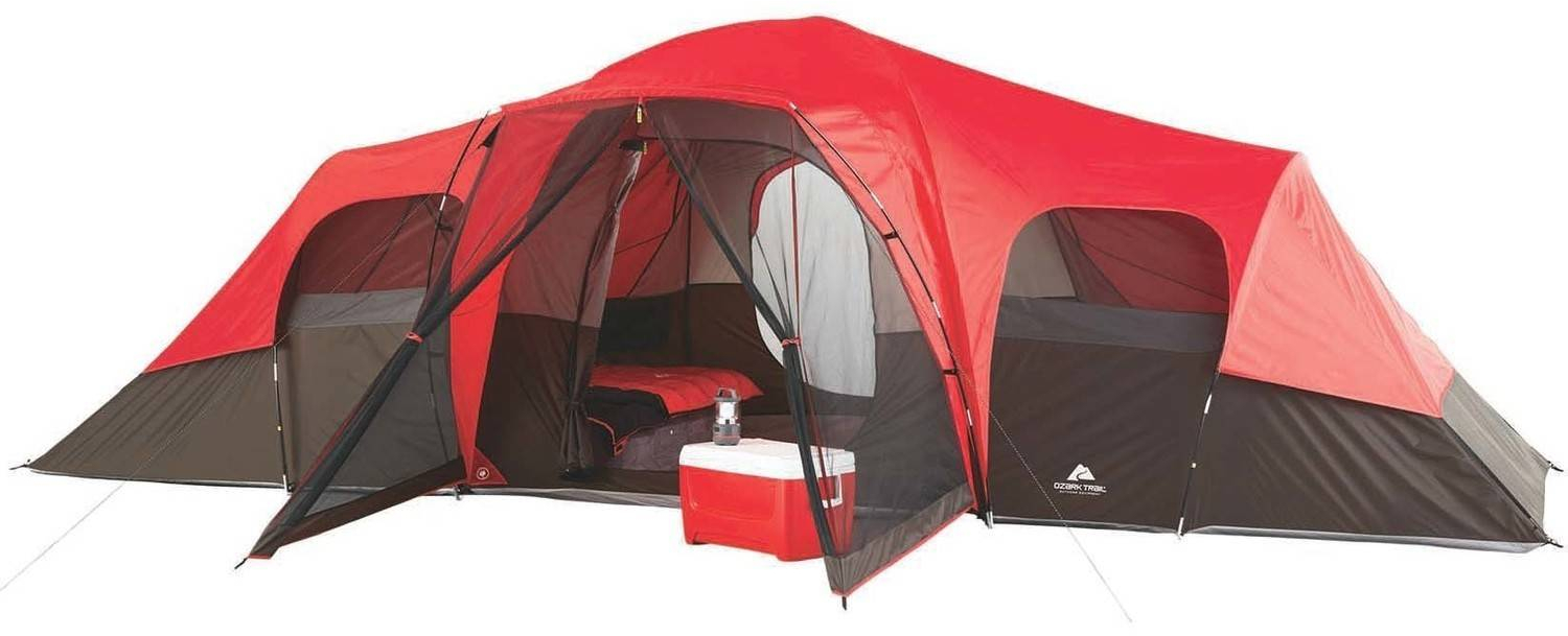 Details about Large Outdoor Camping Tent, 10 Person 3 Room Cabin Screen Porch Waterproof Red