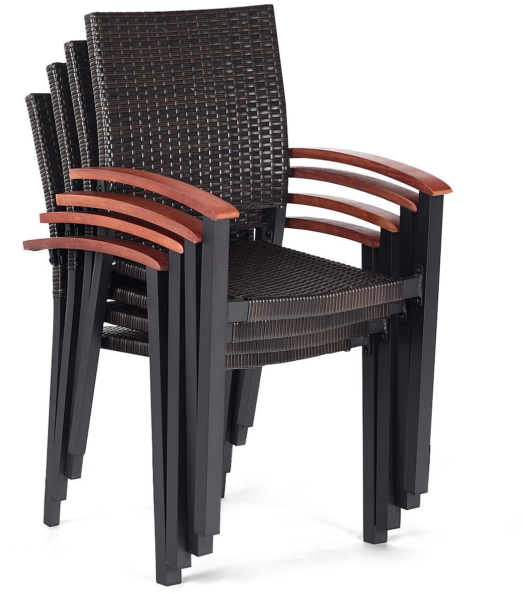 Details About Patio Rattan Armchair Set 4 Pc Dining Chairs Stackable Wicker Outdoor Furniture