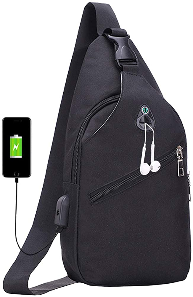 Peicees Sling Bag Small Crossbody Chest Shoulder Hiking Backpack Waterproof Travel Bag for Men Women with Earphone Hole