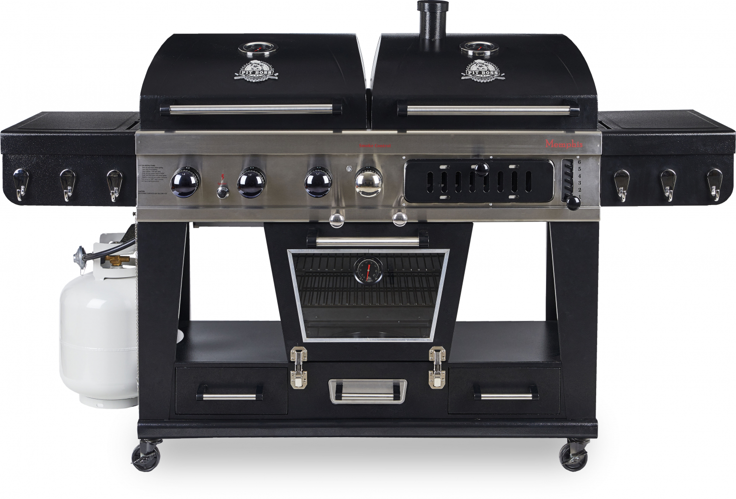 Details About Pit Boss Memphis Ultimate Gas Charcoal Combo Grill W Smoker 4 In 1 Bbq Meat Fish