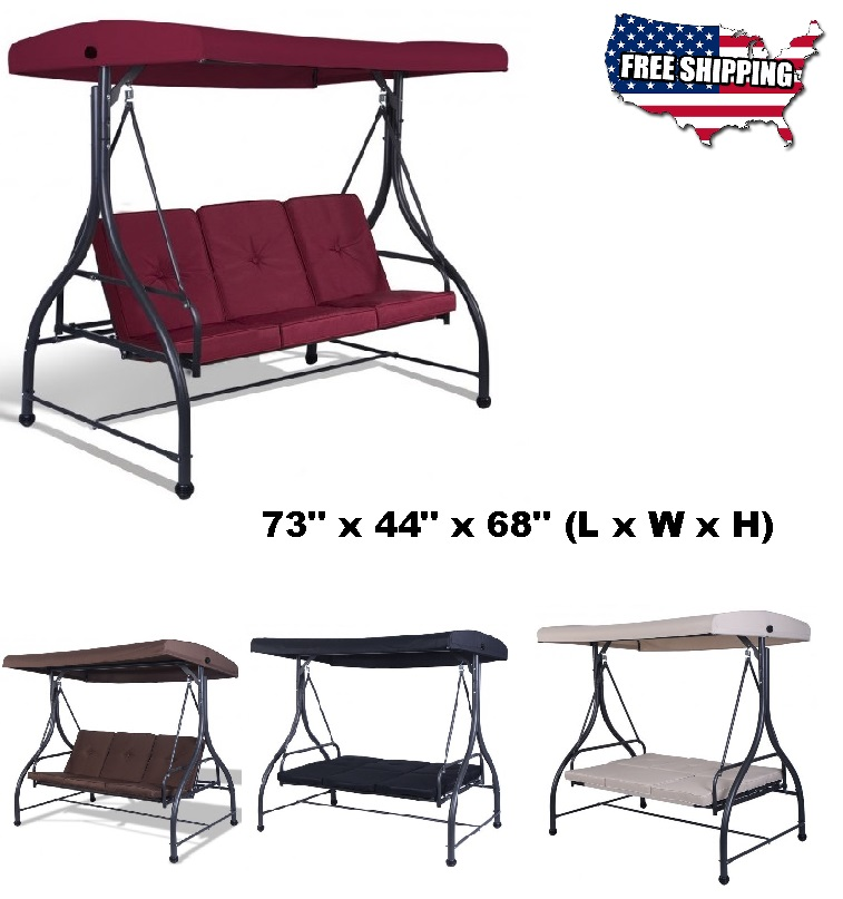 Marvelous Details About Deck Swing Chair Bed Seat Outdoor Canopy Sun Shade Steel Strong Patio Furniture Uwap Interior Chair Design Uwaporg