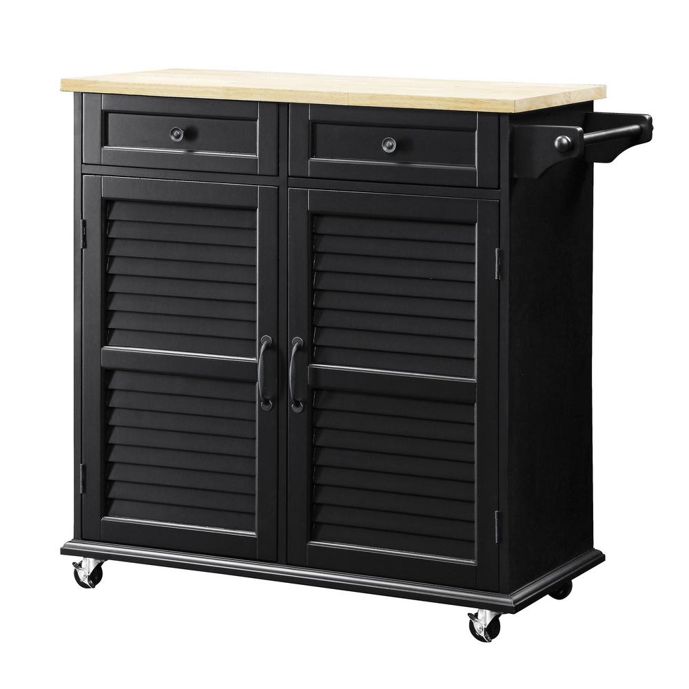 Details About 36 In Small Kitchen Cart W Towel Bar 2 Storage Cabinets And Drawers Black