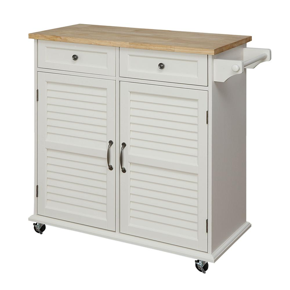 Details about 36 in. Small Kitchen Cart w/ Towel Bar, 2 Storage Cabinets  and 2 Drawers, White
