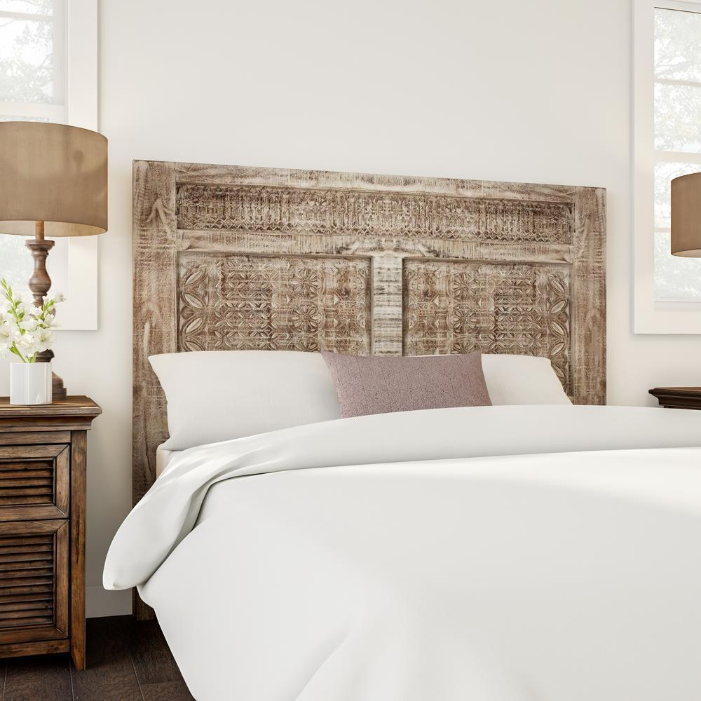 Details About Rustic Whitewashed Solid Wood Queen Size Headboard Distressed Finish Print Block