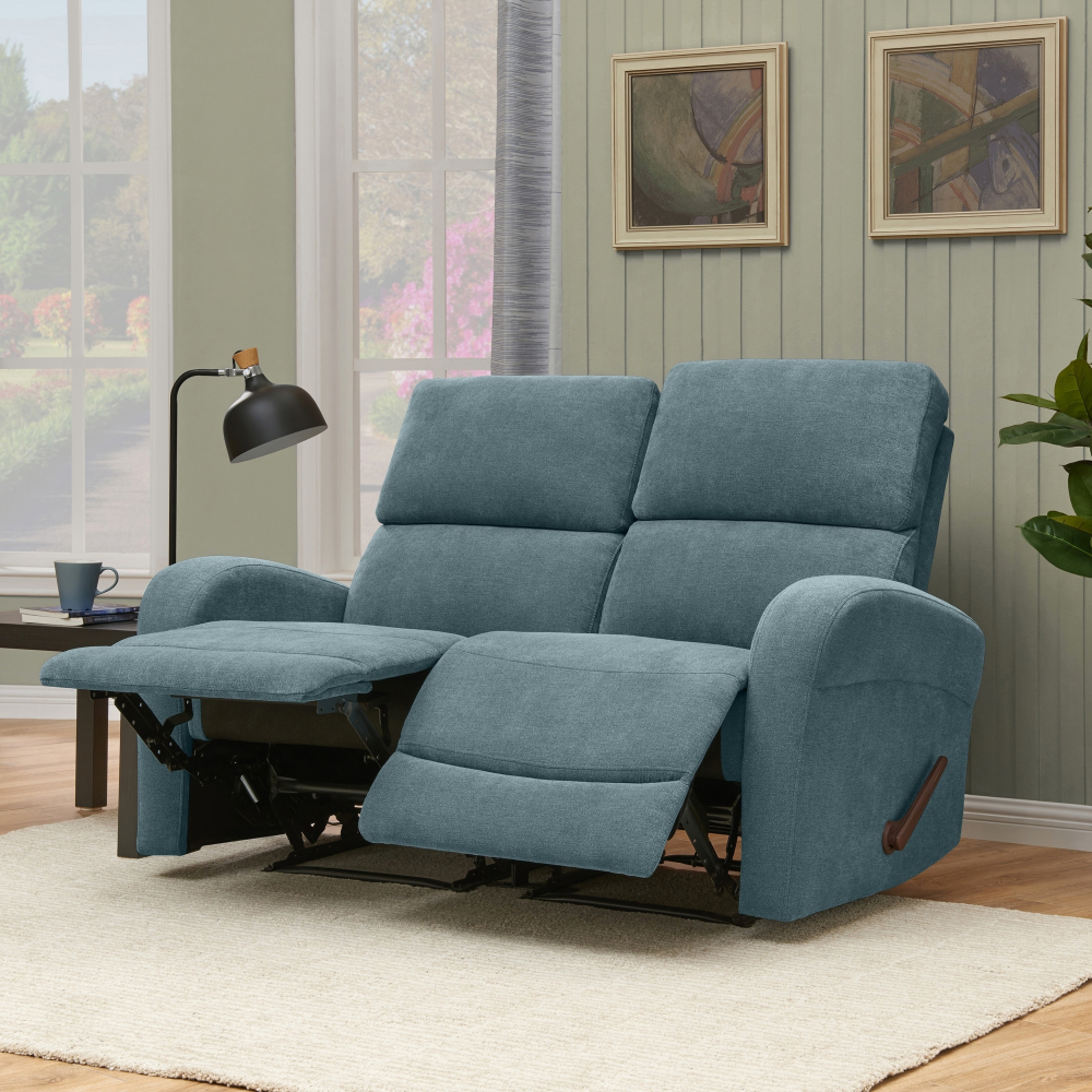 Awesome Details About Blue Chenille 2 Seat Double Recliner Loveseat Sofa 300 Lb Capacity Each Chair Uwap Interior Chair Design Uwaporg
