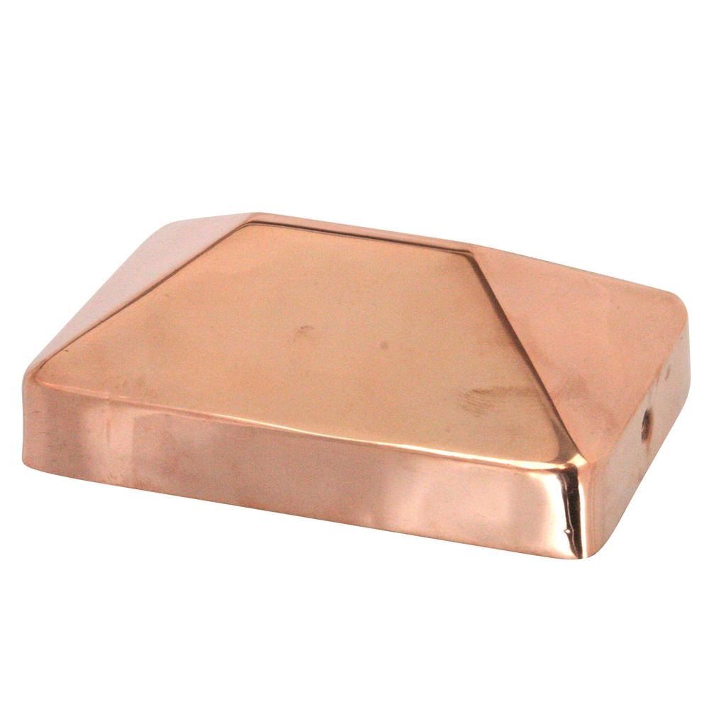 4x4 Copper Flat Top Post Cap by Captiva Extended Lip Solid Copper Will Patina Naturally 3-1//2 x 3-1//2