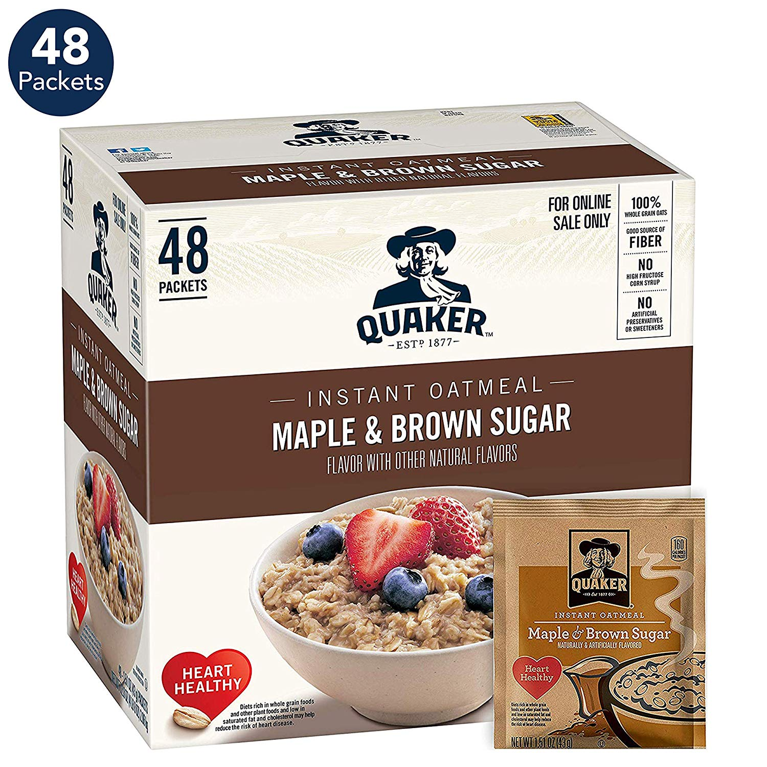 Quaker Instant Oatmeal, Maple and Brown