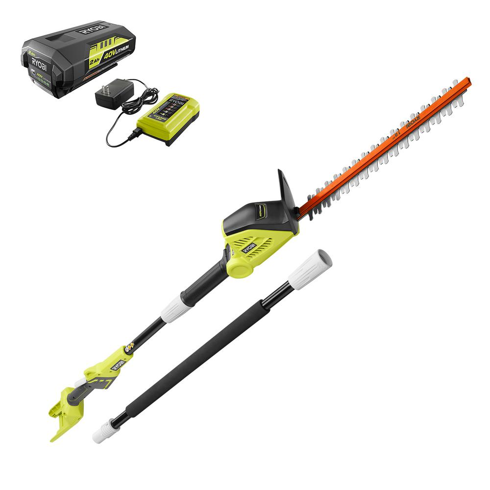 Ryobi 18 In 40 Volt Lithium Ion Cordless Pole Hedge Trimmer With 2 0 Ah And 46396032959 Ebay