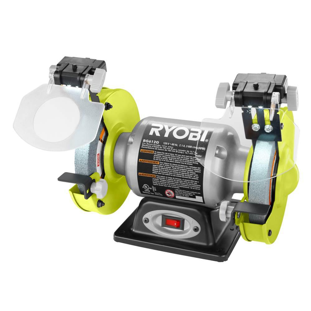 Pleasant Details About Ryobi 2 1 Amp 6 Inch Bench Grinder With Led Lights Heavy Gauge Steel Power Tool Camellatalisay Diy Chair Ideas Camellatalisaycom