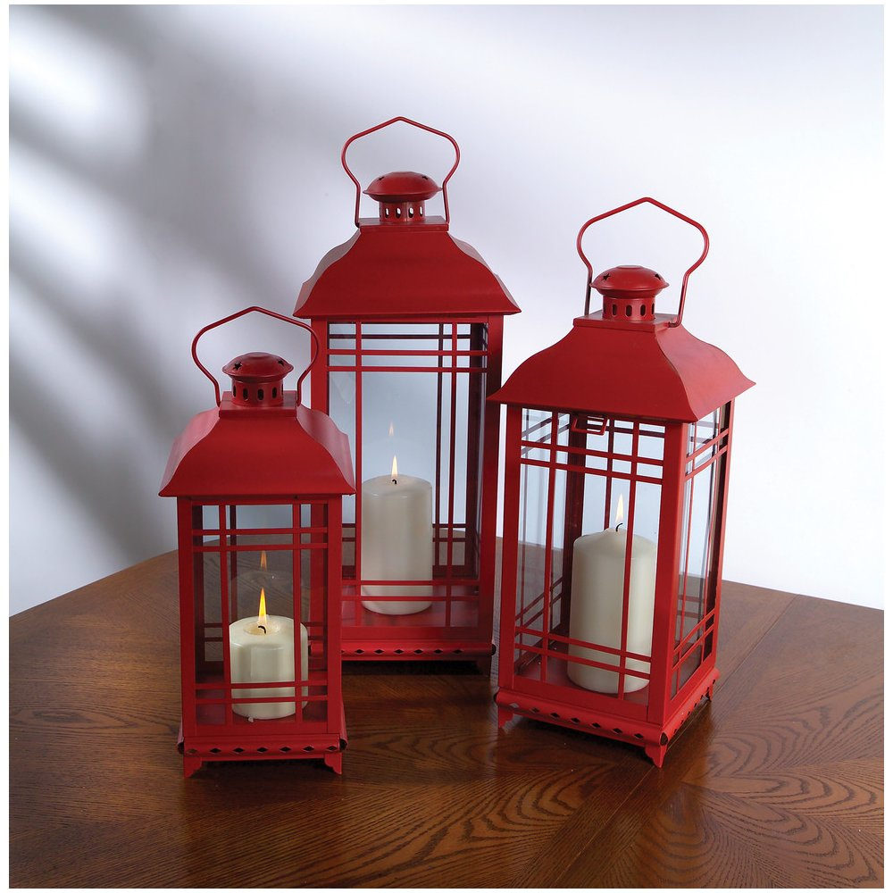 Set Of 3 Red Lantern Candle Holders W