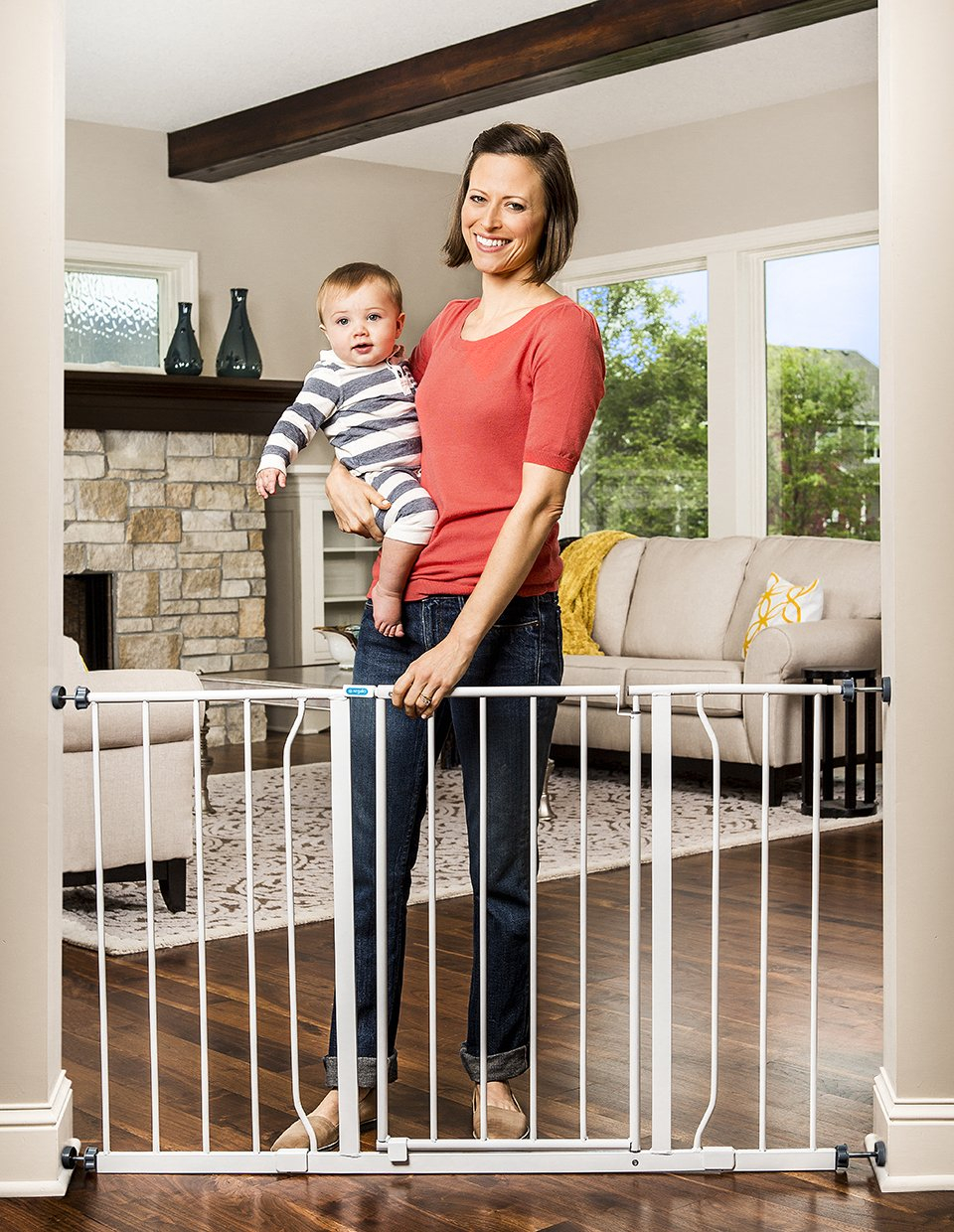 Easy Step 38.5-Inch Extra Wide Walk Thru Baby Gate,Includes 6-Inch Extension Kit