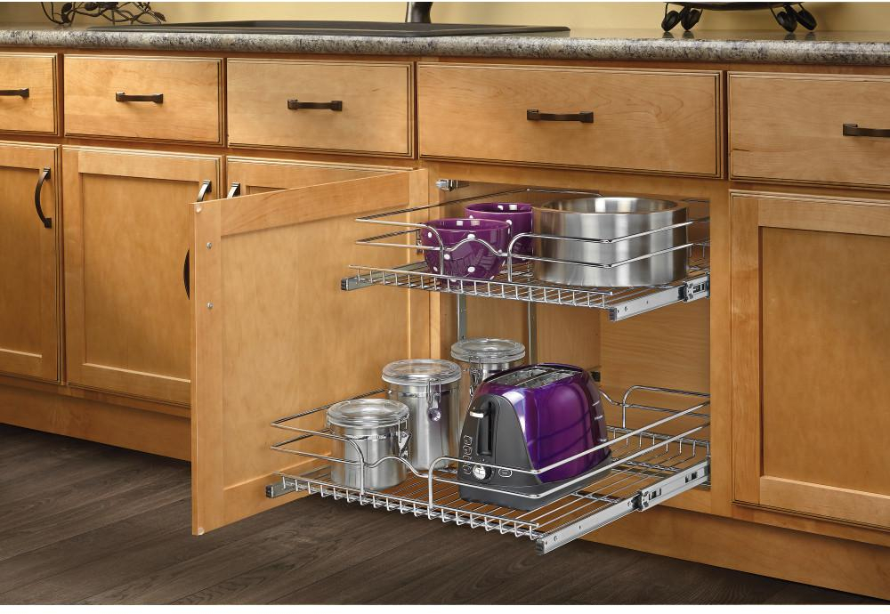 Details about 20.75 in Kitchen Base Cabinet Pull Out 2 Tier Basket Wire  Shelf Storage Sliding
