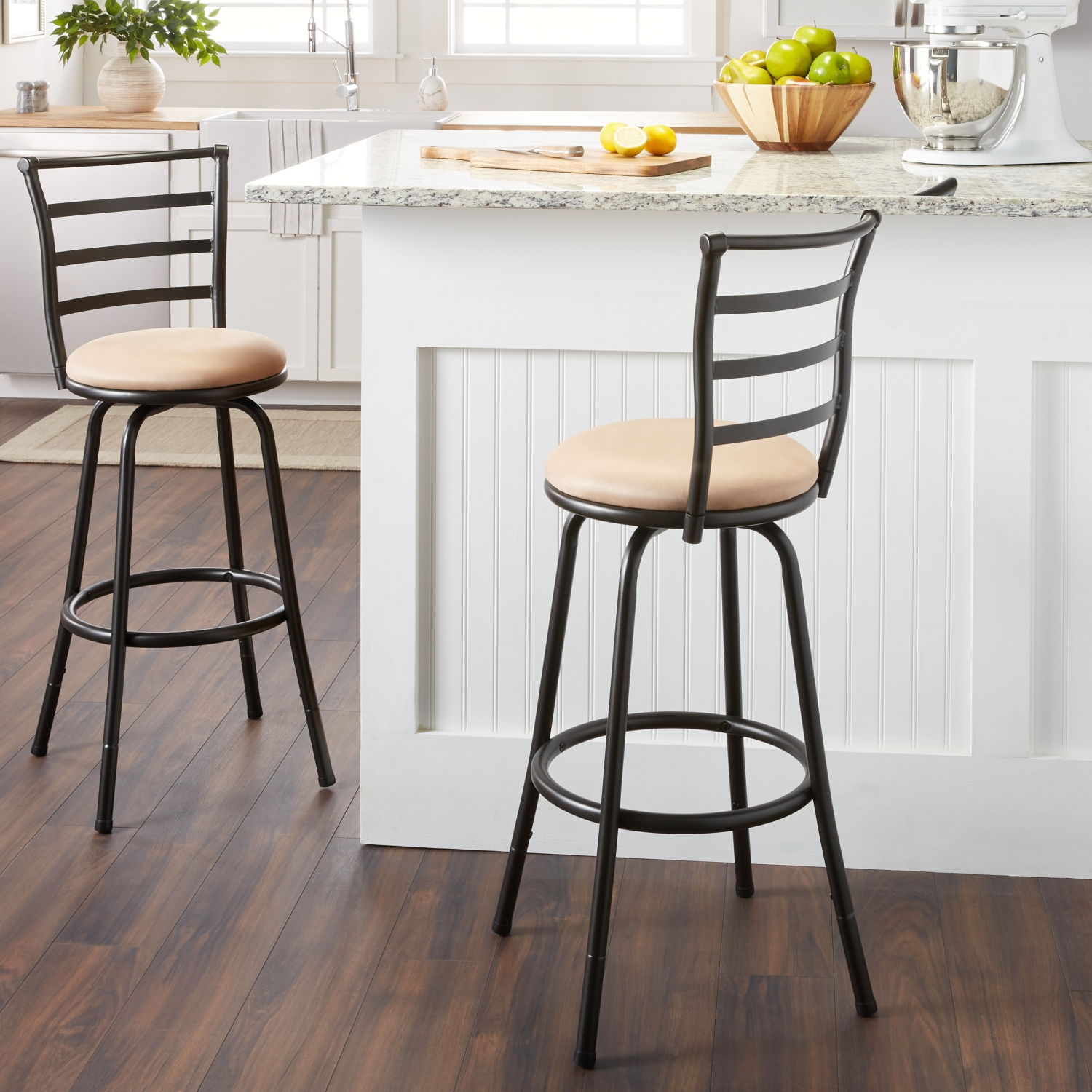 Details About Metal Bar Stool Adjustable Round Padded Seat Counter Height Dining Swivel Chair