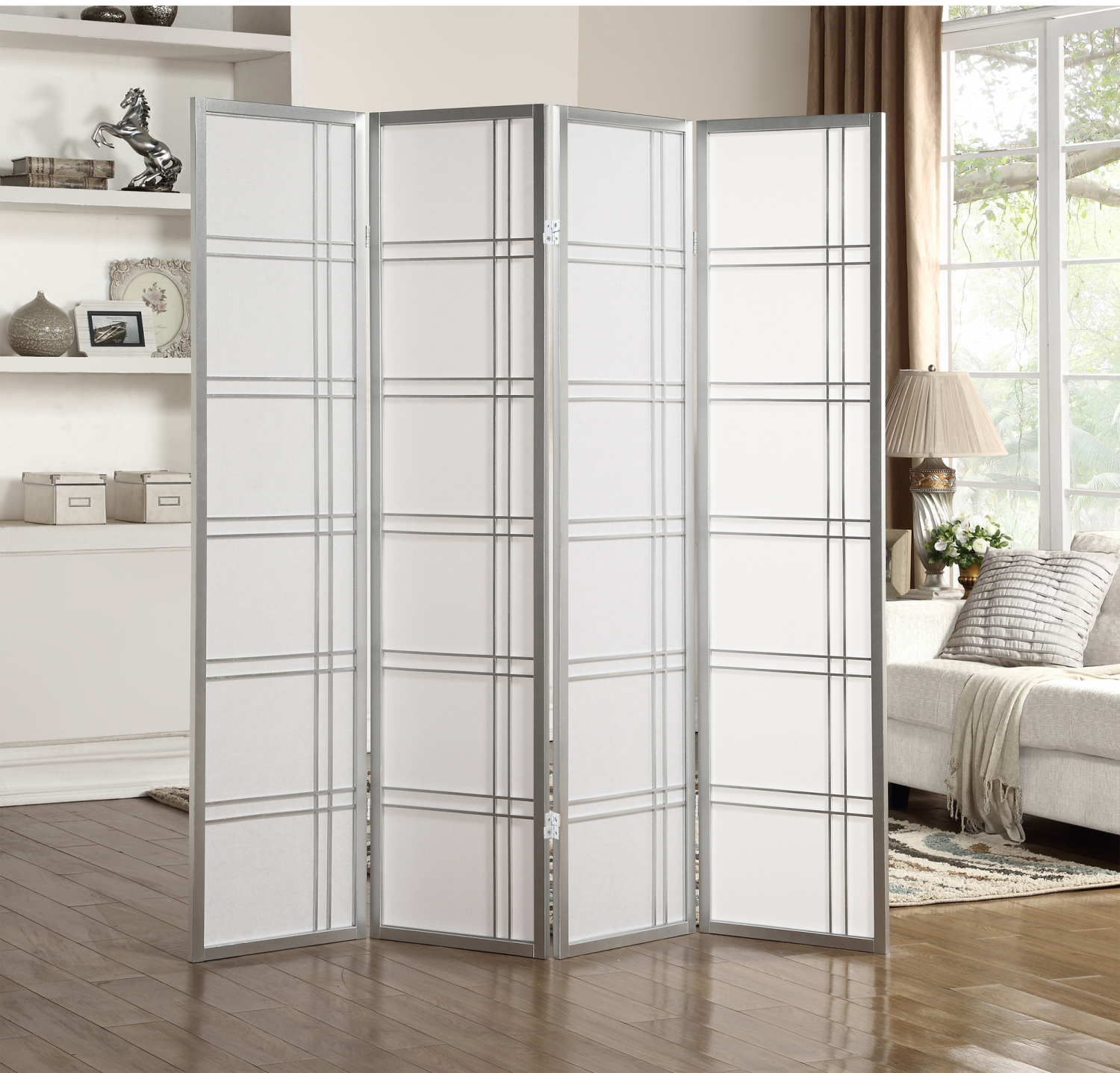 Details About Room Divider 4 Panel Screen Home Privacy Decorative Folding Wood Frame Parion
