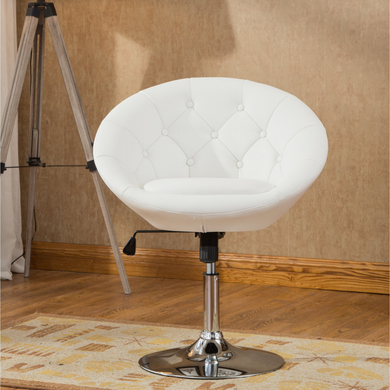 White Pedestal Swivel Chair Faux Leather Accent Height Adjustable Vanity Stool 612524903066 Ebay