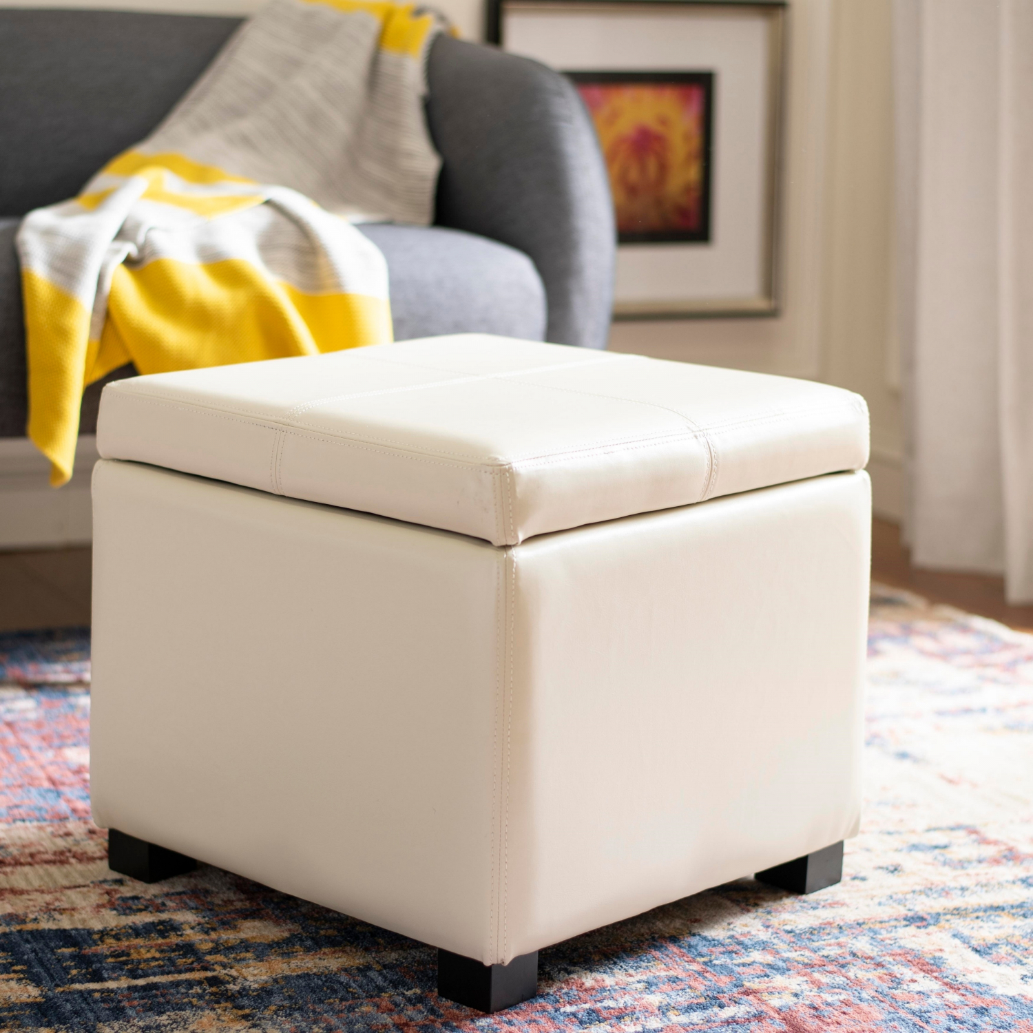 Enjoyable Details About Safavieh Broadway Cream Leather Storage Ottoman Creativecarmelina Interior Chair Design Creativecarmelinacom