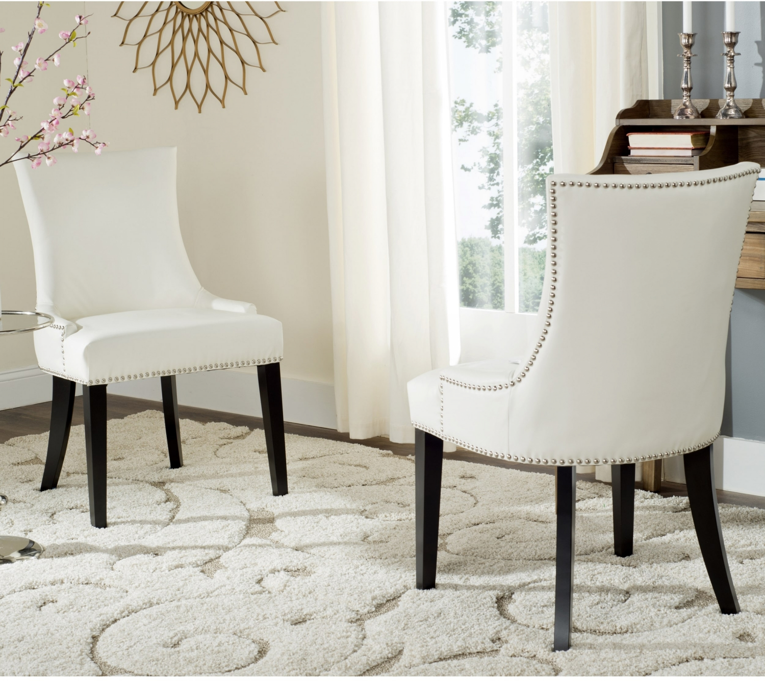 Details About Dining Chairs Bicast Leather Stained Birchwood Legs Nail Head Trim White 2 Pack