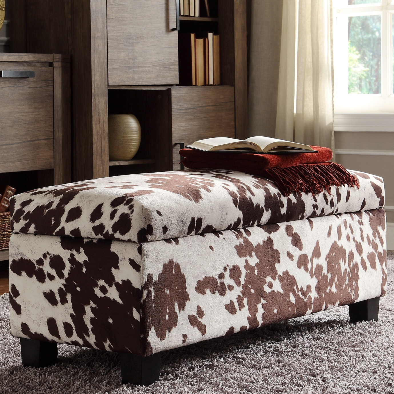 Details about Faux Cowhide Storage Bench Lift Top Rectangular Ottoman  Bedroom Foot Rest Seat