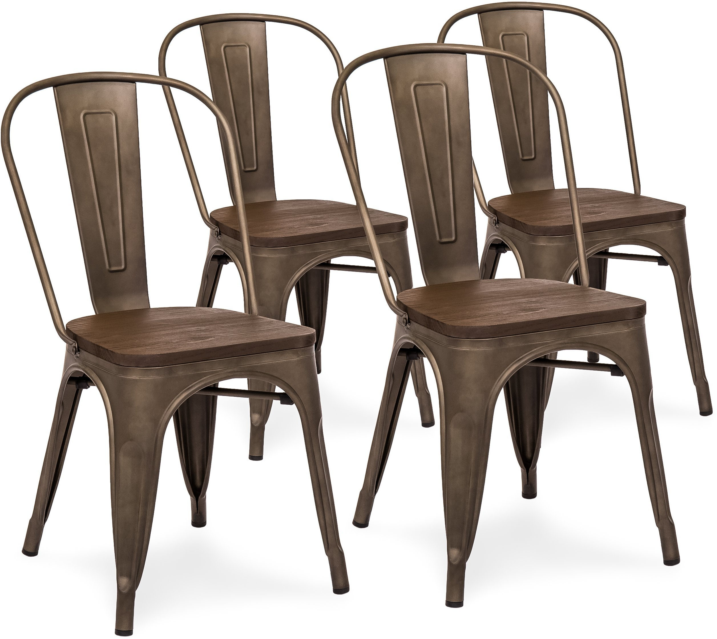 Details about set of 4 industrial distressed metal dining chairs w wood seat copper bronze