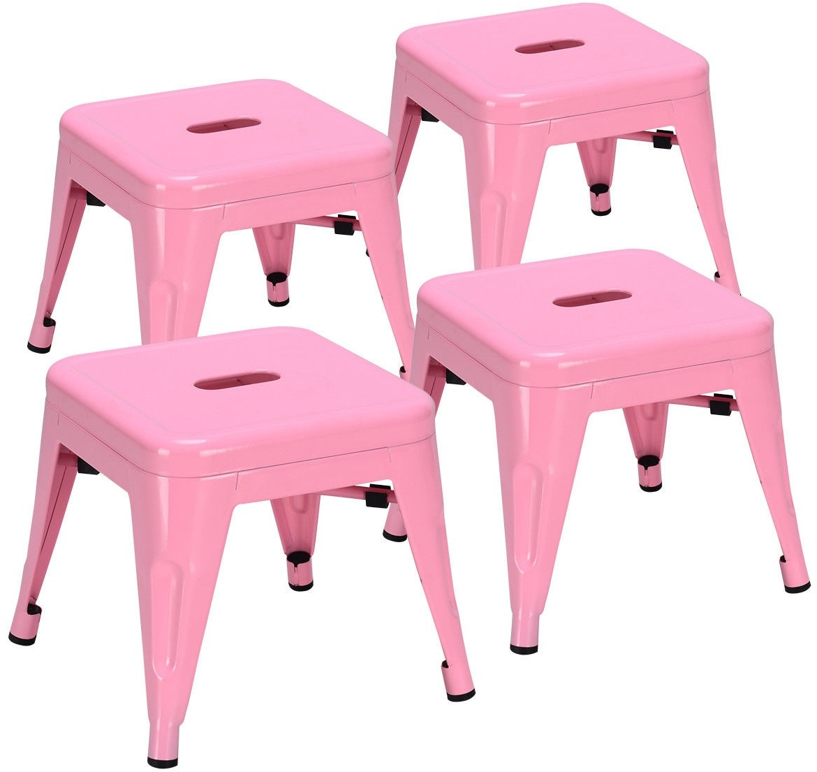 Awesome Details About Set Of 4 Lightweight Stackable Metal Tolix Kids Stools Pink Kids Chair Classroom Dailytribune Chair Design For Home Dailytribuneorg