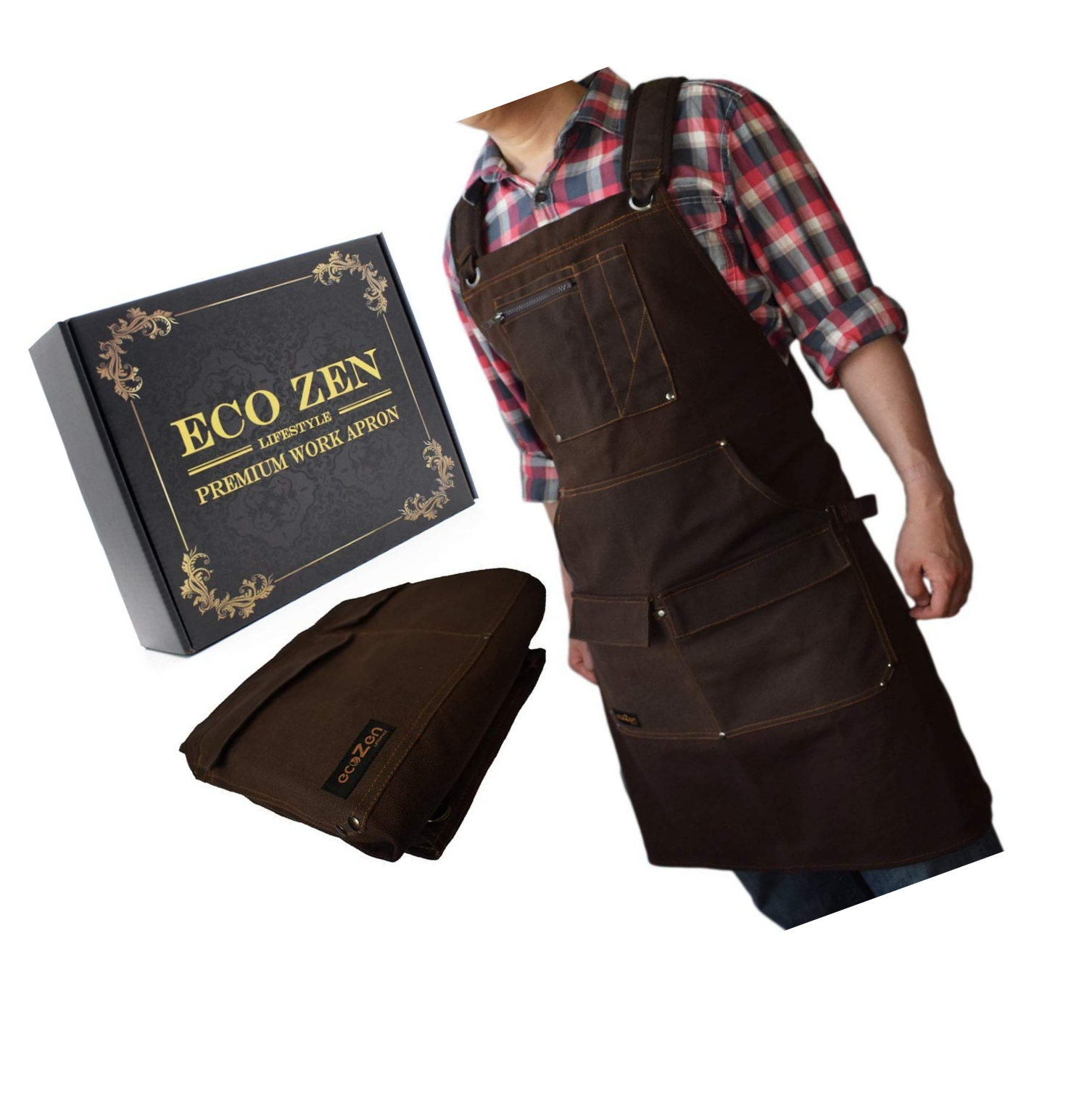 Fully Adjustable to Comfortably Fit Men and Women Size S to XXL Work Apron Waterproof Canvas Work Apron with Pockets Tough Tool Apron to Give Protection