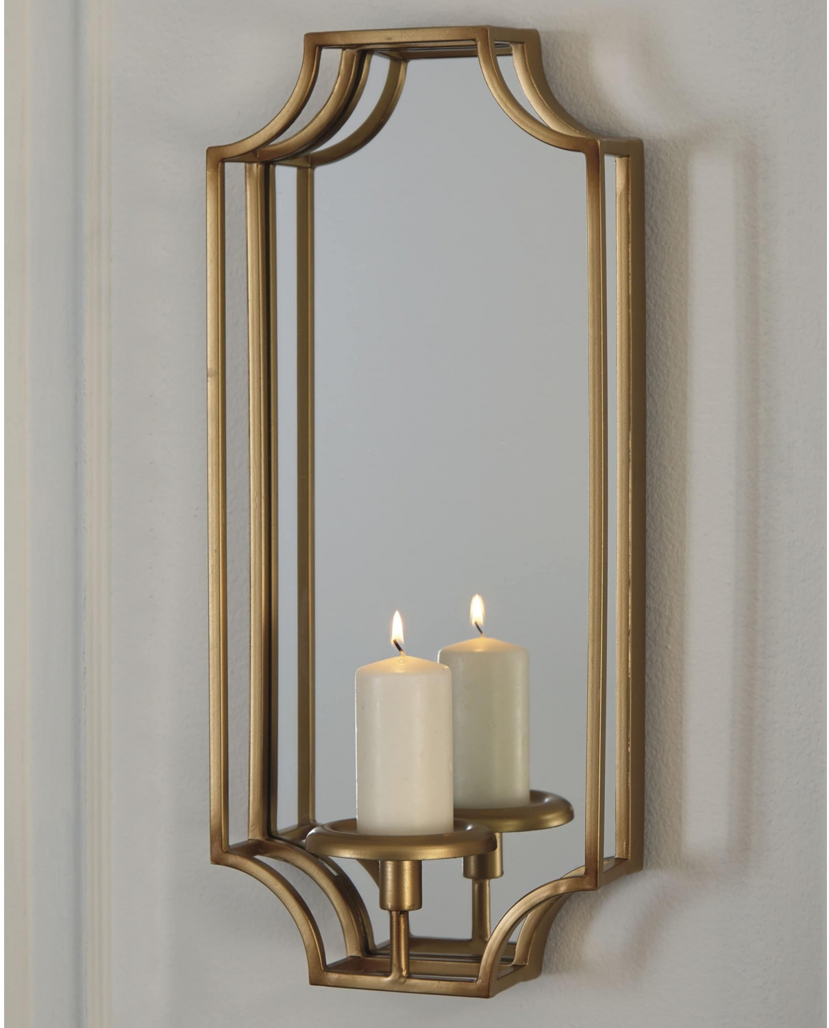 Gold Metal Wall Sconce Mirrored Ornate Pillar Candle Holder Hanging Home Decor 707430469536 Ebay