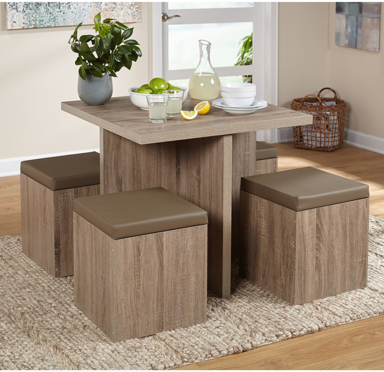 . Details about Simple Living Baxter Dining Set 5 Piece Space Saving Ottoman  Storage  Taupe
