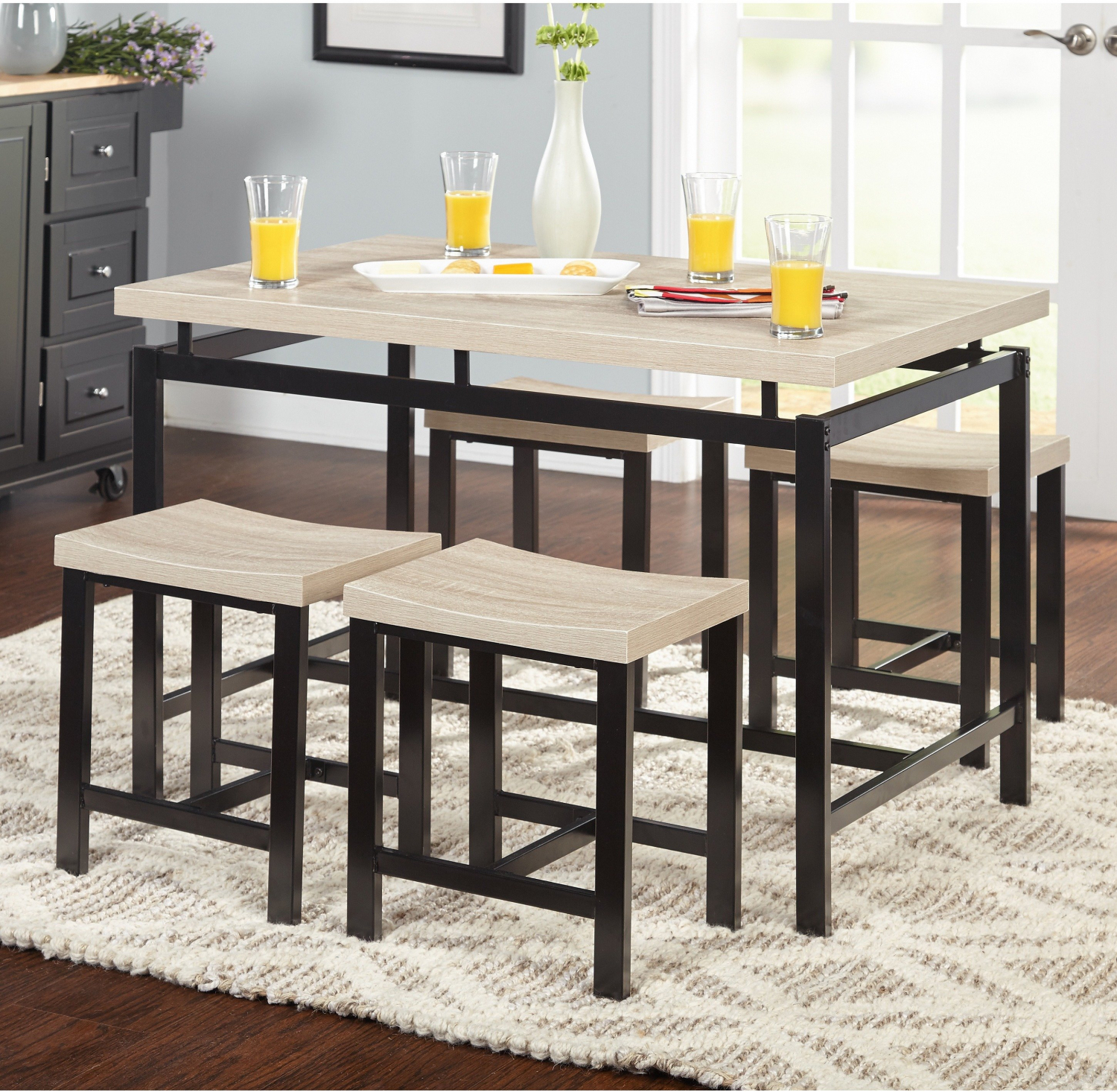 . Details about Simple Living Delano Dining Set 5 Piece Space Saving Stool  Breakfast Nook