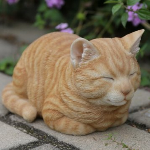 Sleeping Cat Statue Realistic Garden