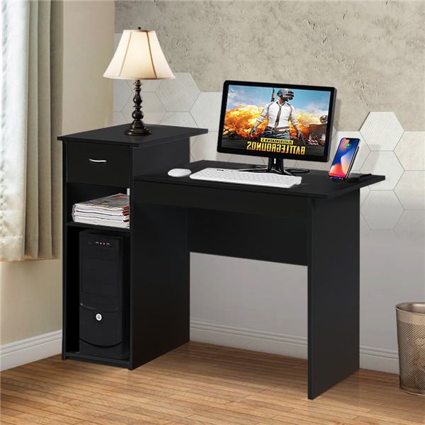 black small puter desk w/drawer laptop table durable