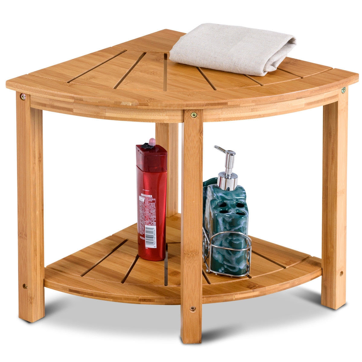 Small Corner Shower Bench Wood Spa Seat Storage Shelf Table Stand