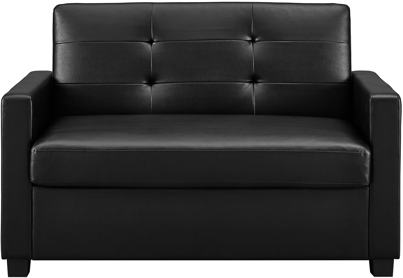 Details About Sofa Bed Sleeper Couch Twin Loveseat Black Luxury Leather Memory Foam Mattress