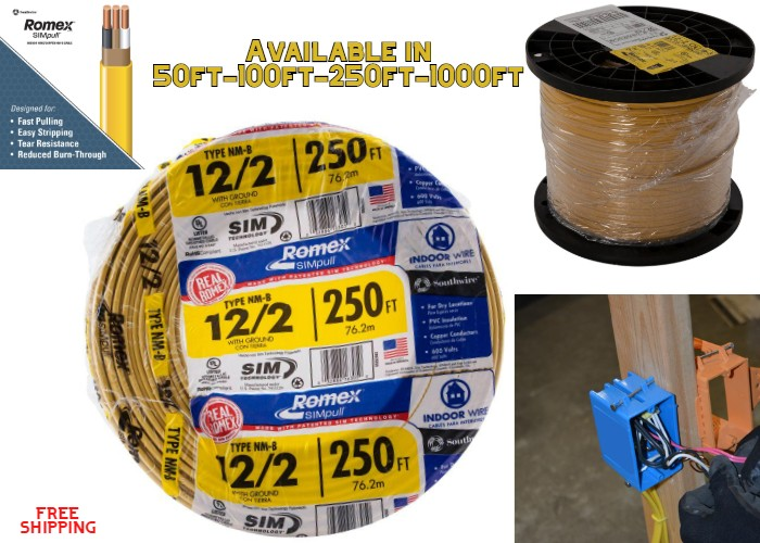 50-Ft Roll 14-2 AWG NM-B Gauge Indoor Electrical Copper Wire Ground Romex Cable