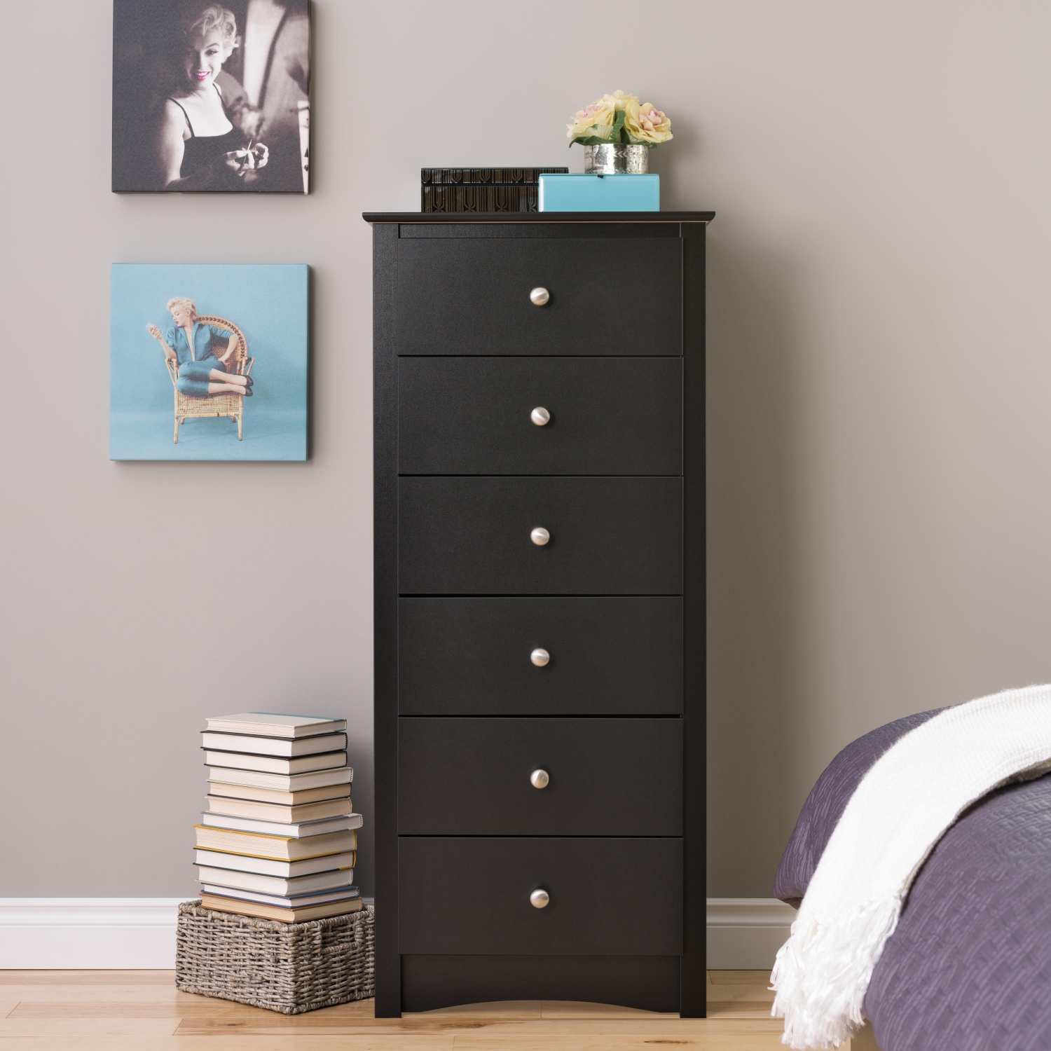 Details about Black Tall Chest 6-Drawer Dresser Set Home Bedroom Wooden  Space-Saving Furniture