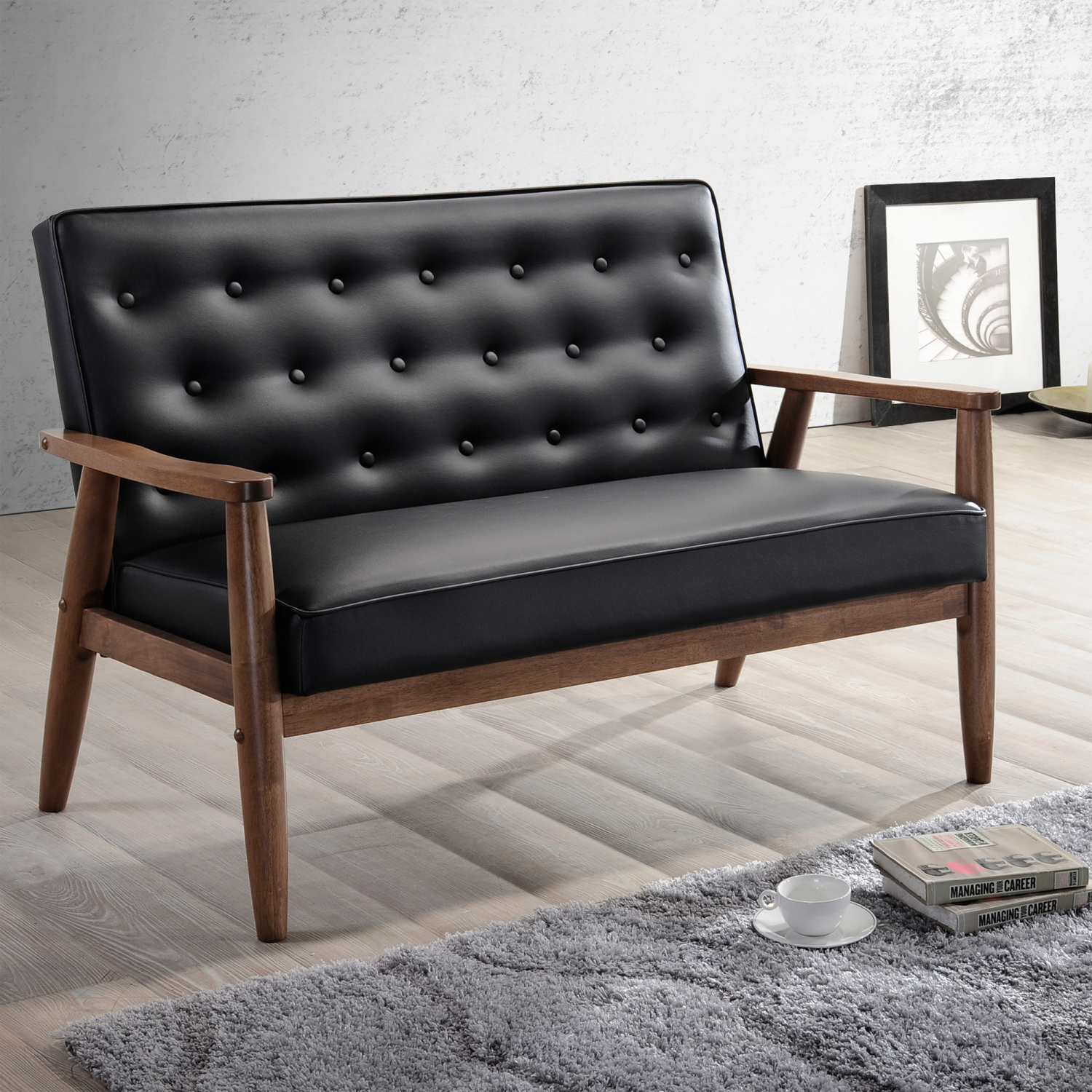 Details About Mid Century Leather Wood Loveseat Danish Design Living Guest Room Sofa