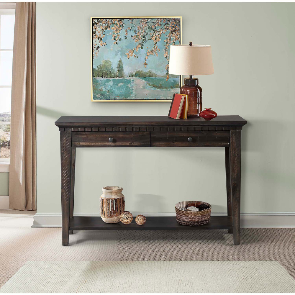 Description the picket house furnishings steele console table 2 drawer acacia wood veneer