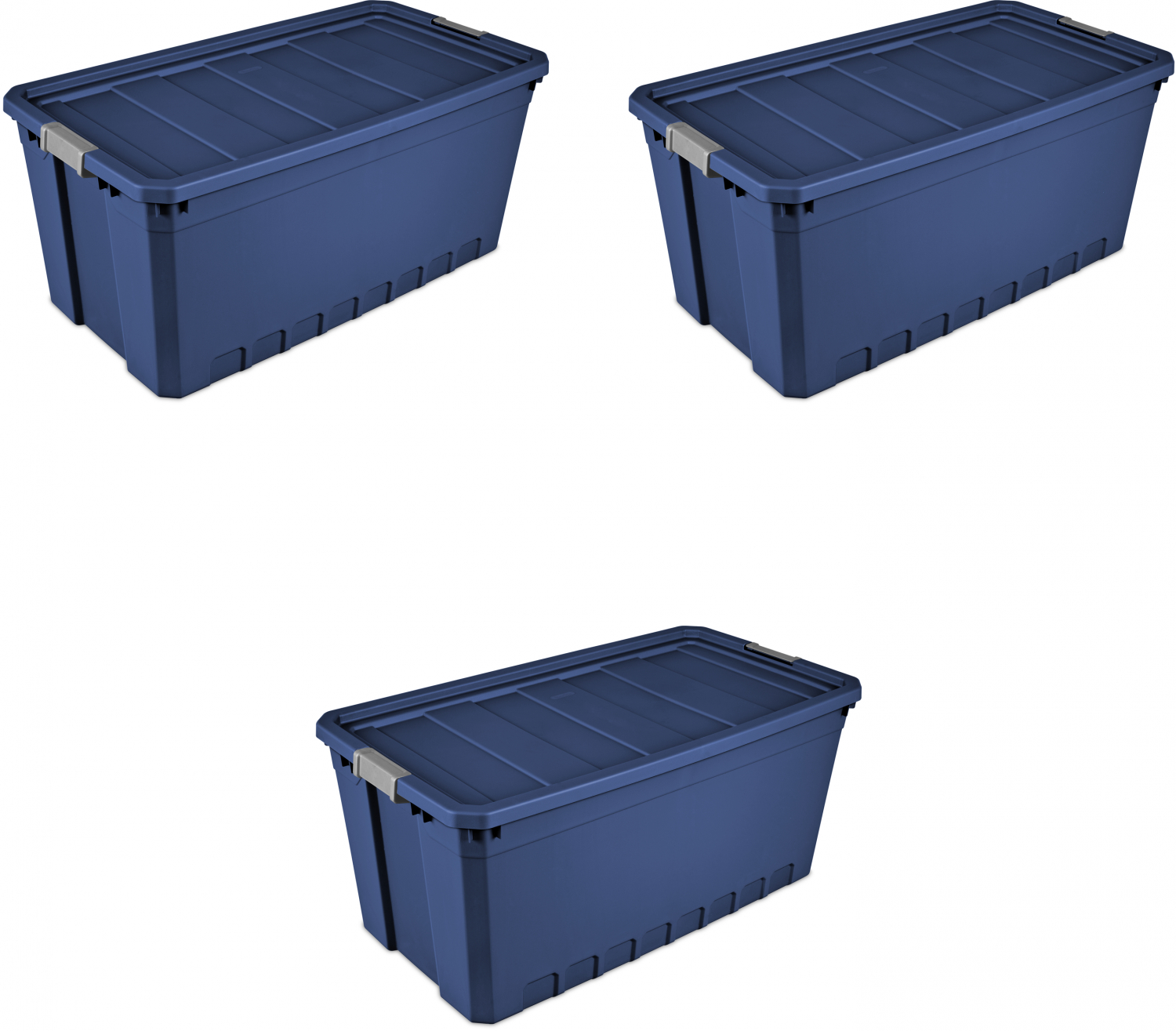 3pk Plastic Storage Containers Large Blue 50 Gallon ...