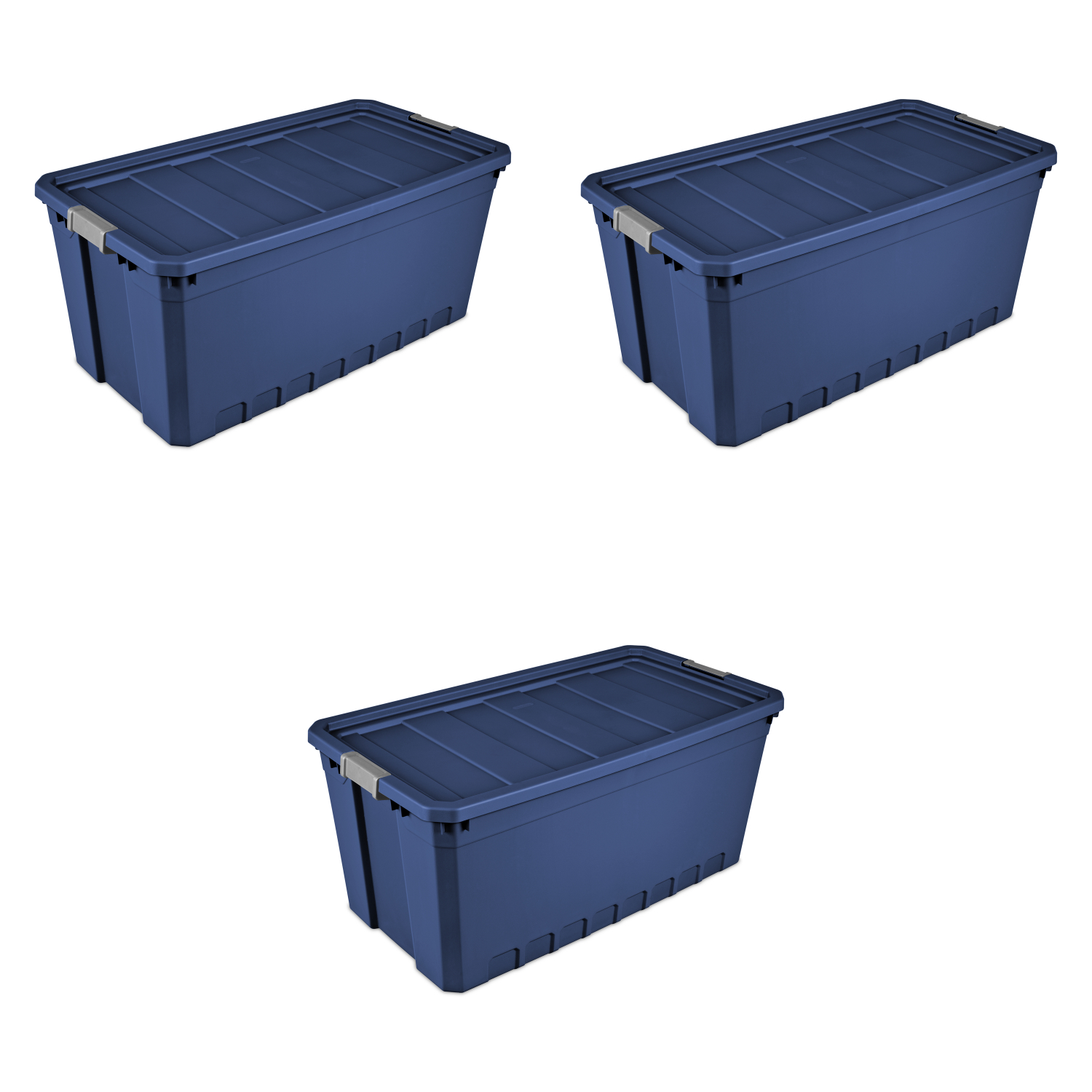 Details About 3pk Plastic Storage Containers Large Blue 50 Gallon Stacking Bin Box Tote W Lid