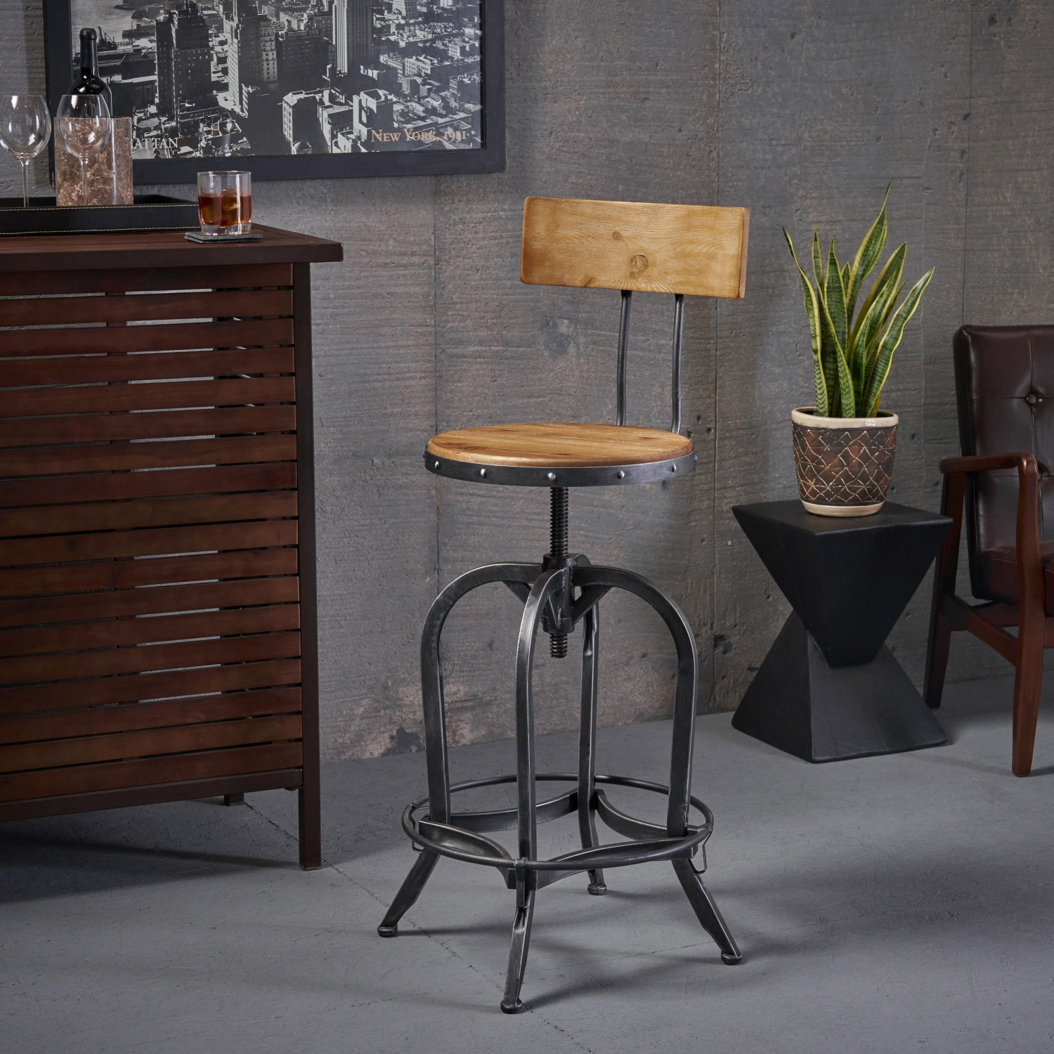 Pleasing Details About Iron Bar Stool Adjustable Seat High Back Swivel Chair Dining Kitchen Counter Pub Dailytribune Chair Design For Home Dailytribuneorg