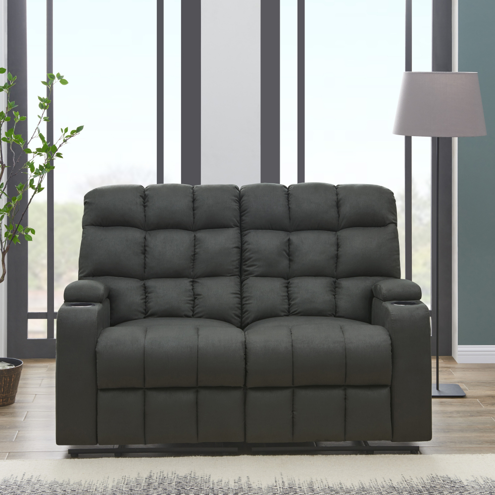 Details About Gray 2 Seat Reclining Loveseat Sofa W Storage Cup Holders Tufted Cushioned
