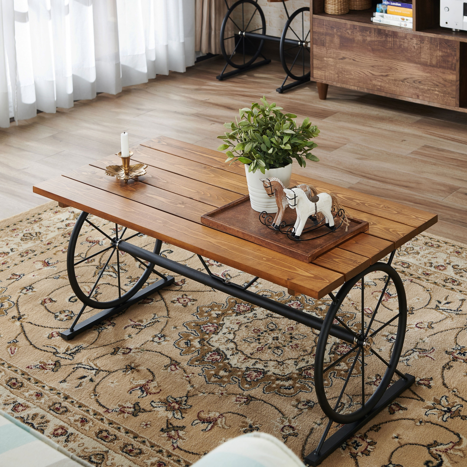 Rustic Wagon Wheel Coffee Table Planked Wood Top Metal Base Sturdy Ez Assembly Ebay