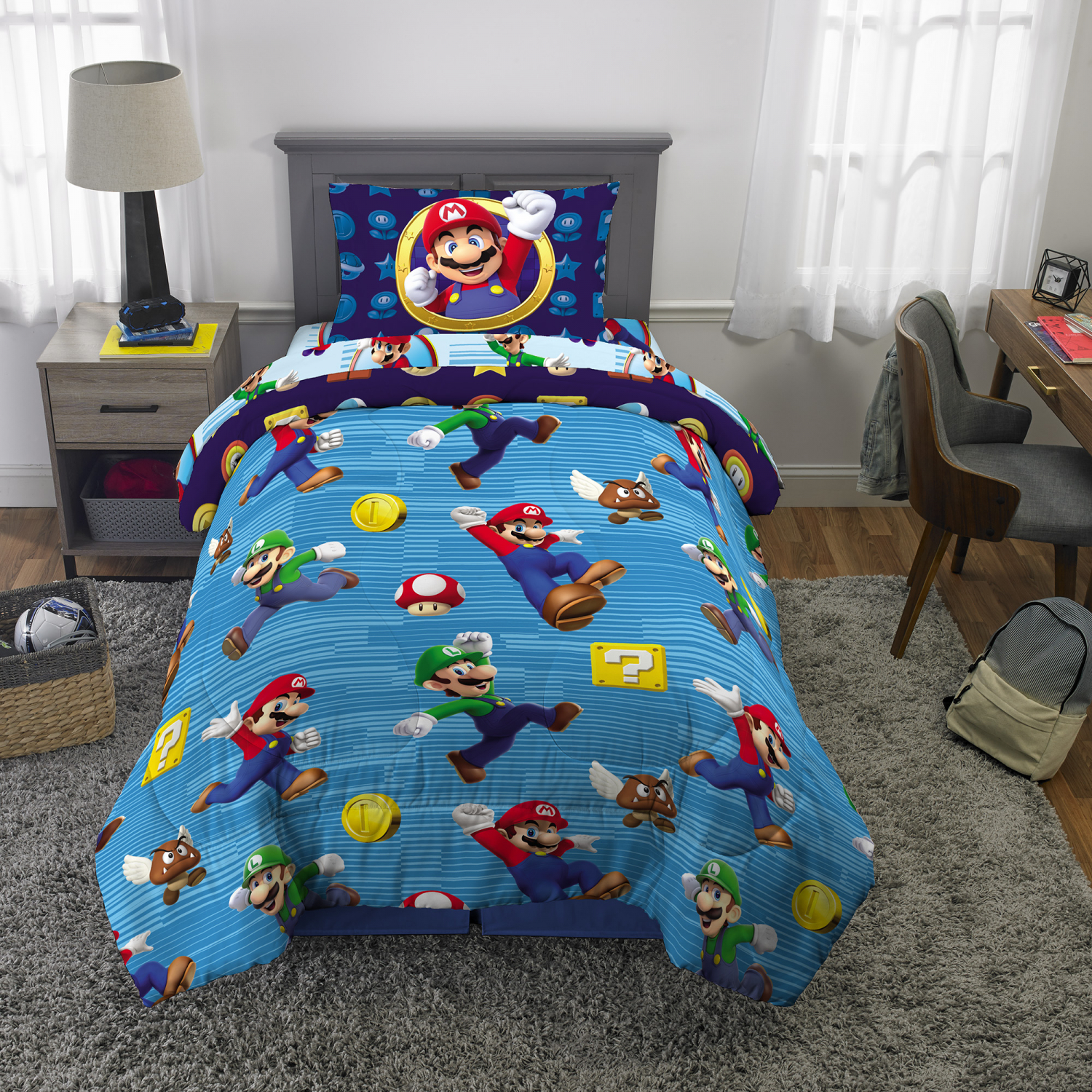 Super Mario 4pc Bed In A Bag Set Twin Size With Bonus Tote