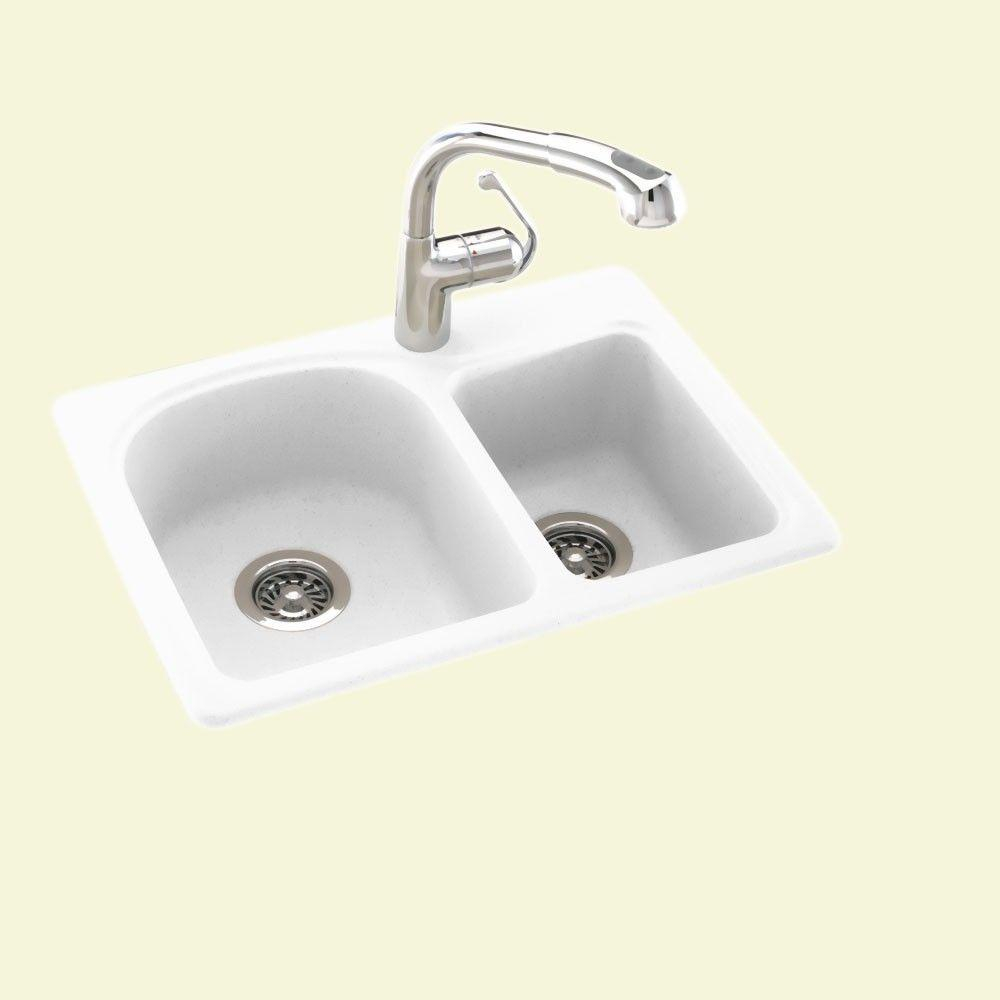 Details about 25 in. 1-Hole Double Bowl Kitchen Sink Drop-In/Undermount  Solid Surface, White