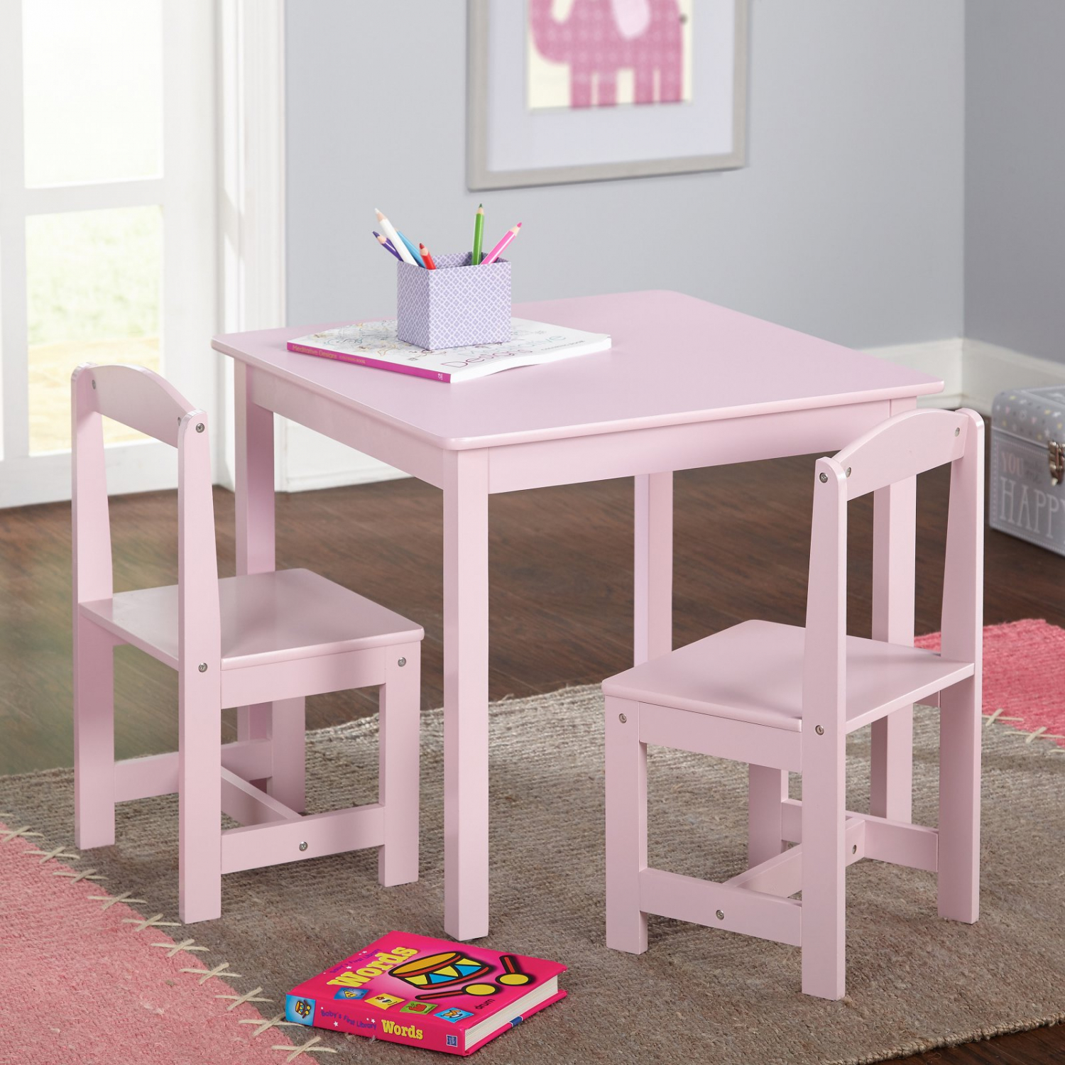 Kids 3-Piece Table And Chair Set Solid Wood Furniture ...
