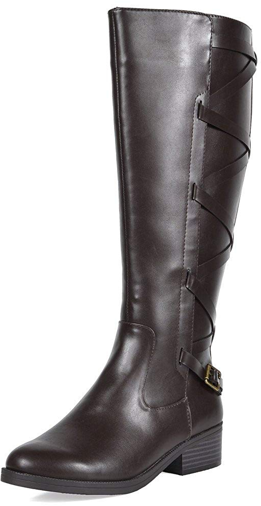 390c9ed869e Details about Womens KNEE HIGH Winter Riding Boots Size 11 WIDE-CALF  Strapped Faux Fur Lining