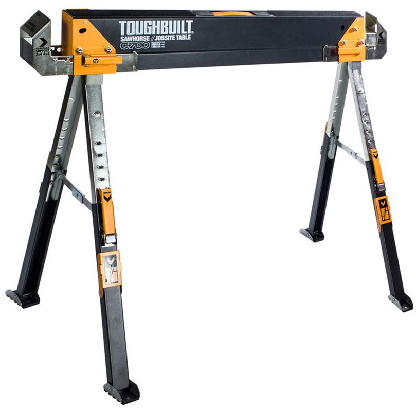 Steel Sawhorse Folding Adjustable Telescopic Legs Construction Site Work Table 858670005111 - How To Adjust Keter Table Legs