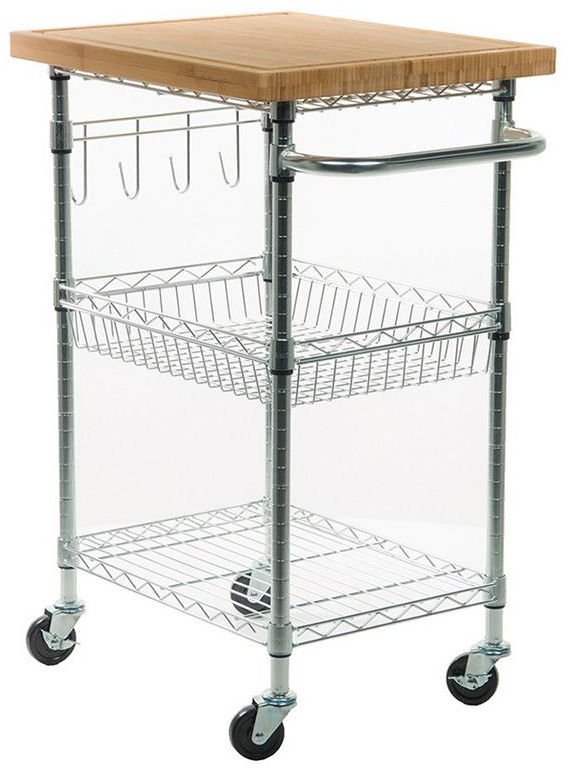 Details about Kitchen Cart 2-Shelf Frameless in Chrome Finish With Bamboo  Cutting Board Top