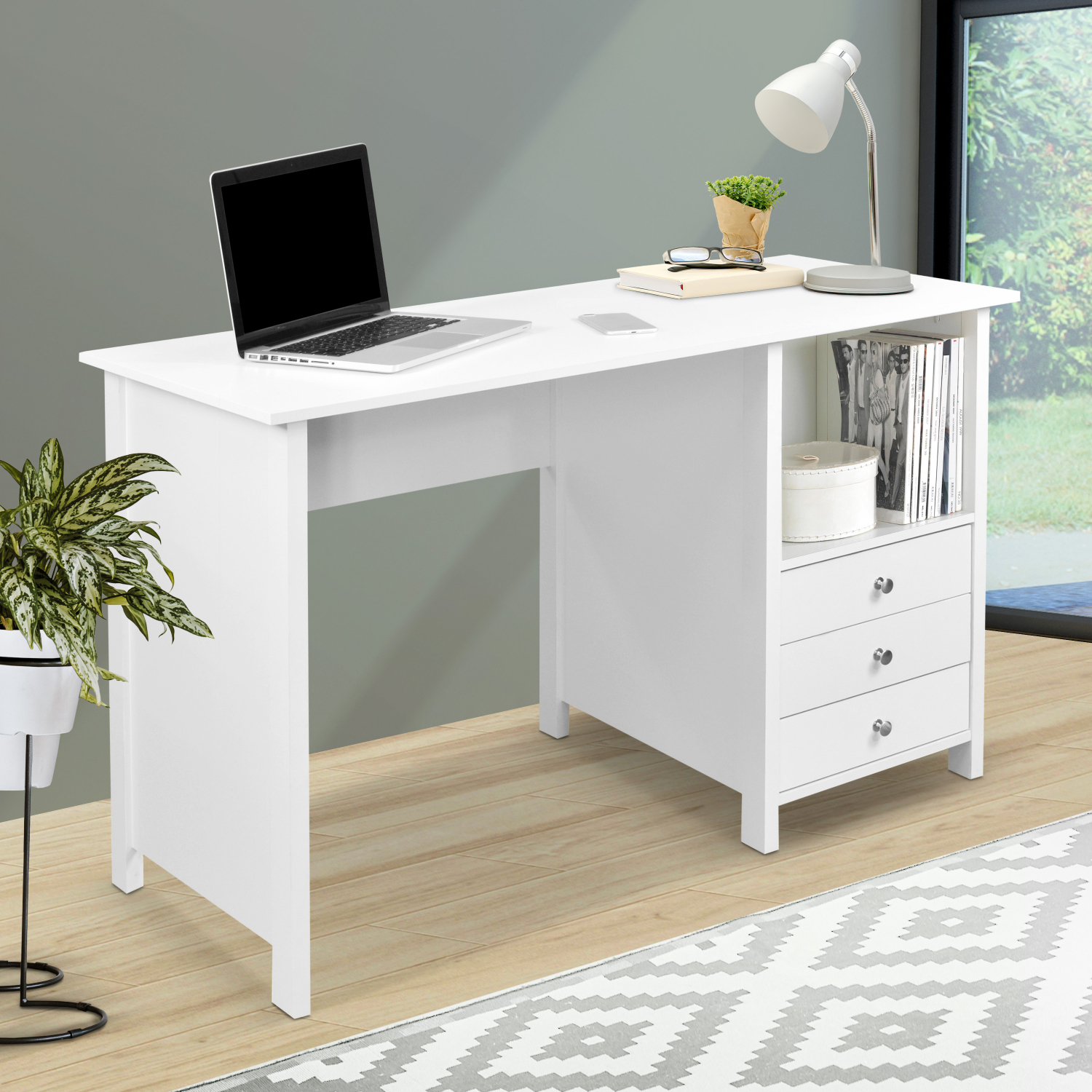 New Home Office Computer Writing Desk Drawer Storage Large Working Surface White 815764013315 Ebay